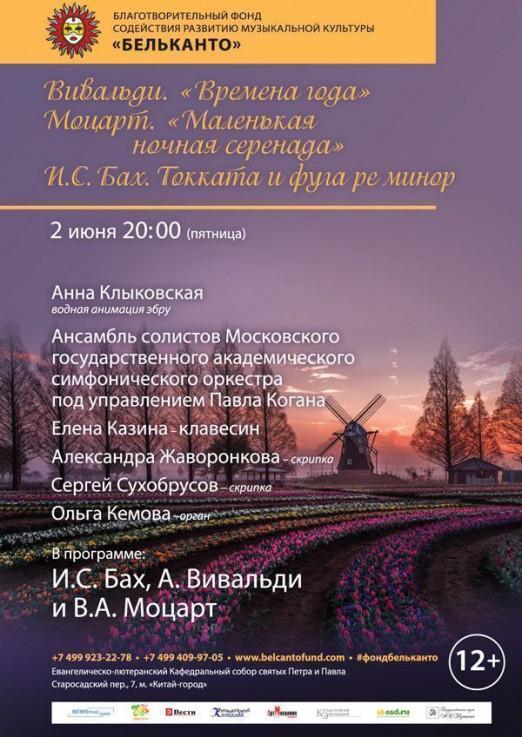 Концерт Вивальди. Времена года. Моцарт. Маленькая ночная серенада И.С. Бах. Токката и фуга ре минор