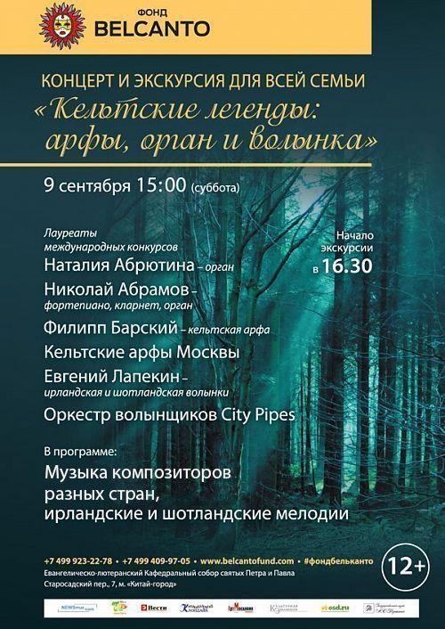Концерт Концерт и экскурсия для всей семьи: Кельтские легенды - арфы, орган и волынка